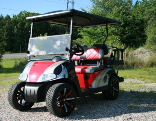 Red Silver and Black Custom EZ-GO RXV Golf Cart