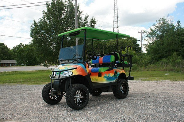 Lime Green Blue and Orange Beach Life Custom Lifted EZ-GO RXV Golf Cart