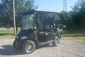 Jet Black with Tan Diamond-Stitched Tan Seat Custom Lowered EZ-GO RXV Golf Carts