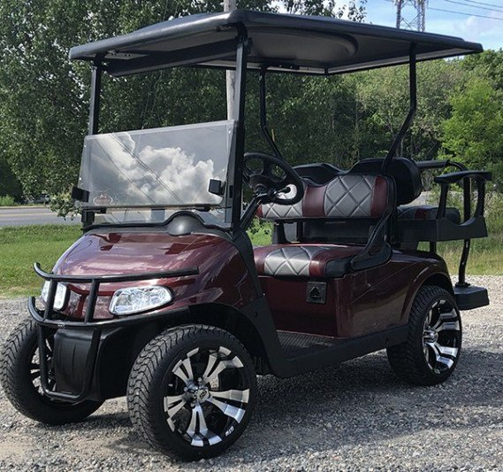 Burgundy Low-Profile EZ-GO RXV Golf Cart
