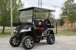 Burgundy Black Silver Lifted Custom EZ-GO RXV Golf Cart