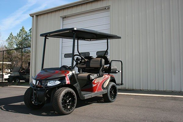 Burgundy Champaign Black EZ-GO RXV Custom Golf Cart