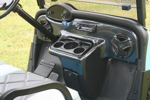 Carolina Blue with Charcoal and Silver Custom Lifted EZ-GO RXV Golf Cart