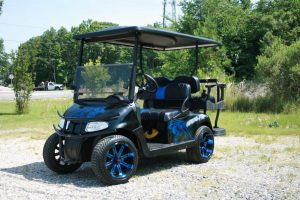 Carolina-Panthers-Inspired Low Profile Custom EZ-GO RXV Golf Cart