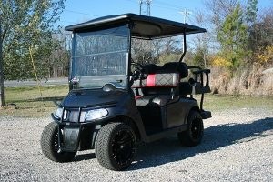 Gloss Charcoal with Red/Charcoal Seats Low Profile EZ-GO Golf Cart