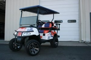 Clemson Tigers National Champion Purple Orange White Custom Lifted EZ-GO Golf Cart