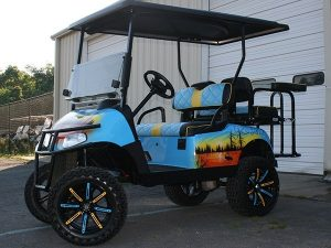 Custom Airbrushed Lake Life Lifted EZ-GO Golf Cart