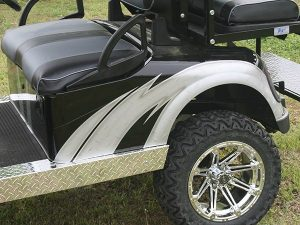 Custom Black with Silver Lifted EZ-GO RXV Golf Cart with Brush Guard