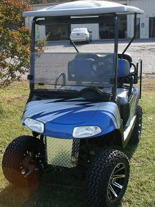 Blue Silver Black Custom Lifted with Brush Guard EZ-GO Golf Cart