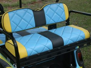 Custom Painted Blue with Yellow and Black Custom Lifted EZ-GO RXV Golf Car