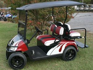 Burgundy with White and Black Custom RXV Golf Cart