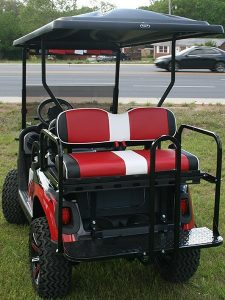 Custom Painted White with Red and Black-E-Z-GO RXV Lifted Golf Cart with Custom Wheels