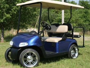 Royal Blue with Beige Custom EZ-GO RXV Golf Cart