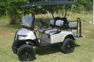Custom Silver with Black E-Z-GO RXV Lifted Golf Cart
