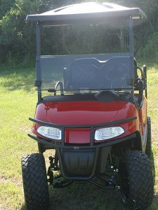Custom Fire-Engine Red with Black EZ-GO RXV Lifted Golf Cart with Rear Rack