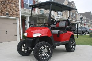 Custom Gloss Red with Grey EZ-GO-RXV Lifted Golf Cart