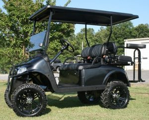 Custom Tuxedo Black Mud-Terrain Lifted EZ-GO-RXV Golf Cart