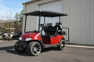 Deep Red Custom Lowered EZ-GO RXV Golf Cart