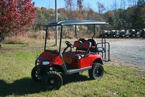 Fire-Engine Gloss Red Custom Lifted EZ-GO RXV Golf Cart