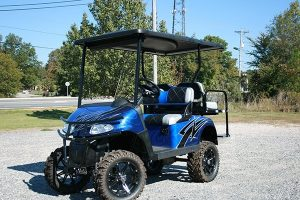 Fusion Blue Custom Lifted EZ-GO Golf Cart