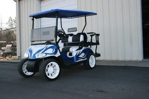 Fusion Blue White Black Low Profile Custom EZ-GO Golf Cart