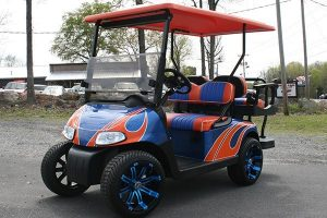 Fusion Blue Orange White Custom EZ-GO Golf Cart