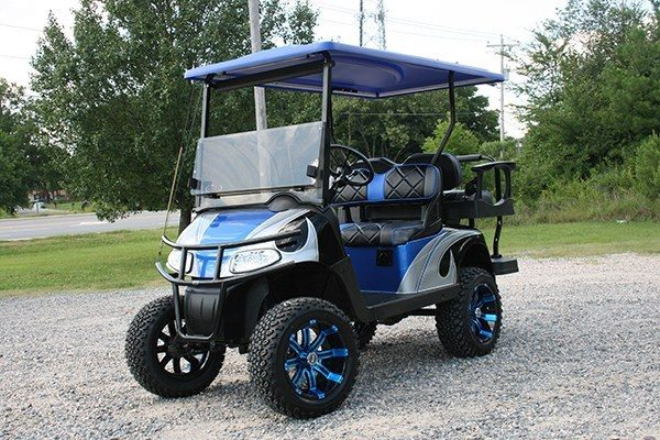 Fusion Blue Black and Silver Custom Lifted EZ-GO Golf Cart