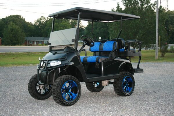 Gloss Black with Blue Seats EZ-GO RXV Custom Golf Cart