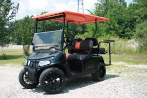 Gloss Black with Orange Accents Custom EZ-GO RXV Golf Cart
