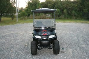 Gloss Black Ohio-State-Inspired Lifted Custom EZ-GO Golf Cart