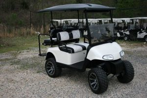 Gloss White Lifted EZ-GO RXV Custom Golf Cart