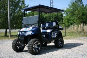 House Divided Yankees Mets Lifted EZ-GO RXV Custom Golf Cart