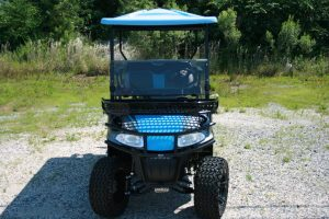 Baby Blue Charcoal and Black Custom EZ-GO Golf Cart