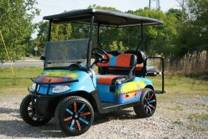 Lake Life Airbrushed Low Profile Custom EZ-GO Golf Cart