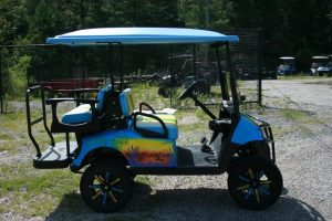 Custom Airbrushed Lake Life Custom Lifted EZ-GO Golf Cart with Yellow Seats