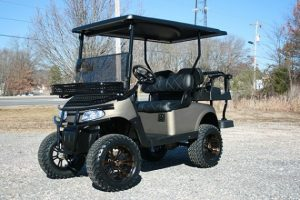 Custom Lifted Champaign EZ-GO RXV Golf Cart