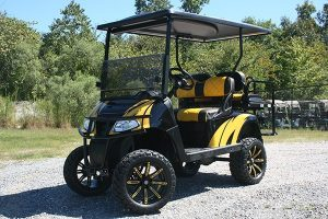 Lifted Yellow Stunner Custom EZ-GO Golf Cart