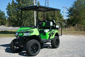 Lime Green Silver Black Custom Lifted EZ-GO Golf Cart
