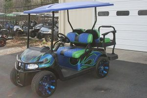 Lime Green Blue Black Custom Painted Used EZ-GO Golf Cart