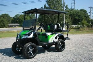 Lime Green Blue and Black Lifted Custom EZ-GO Golf Cart