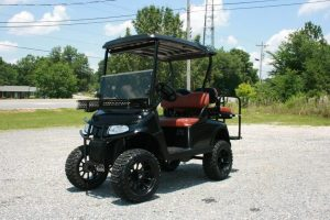 Matte Black Custom EZ-GO Golf Cart with Old Whiskey Seats