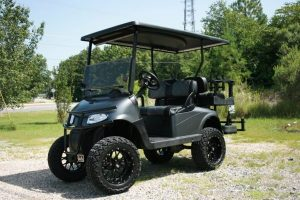Matte Black Night Rider Custom Lifted EZ-GO Golf Cart with Genesis 250 Seats