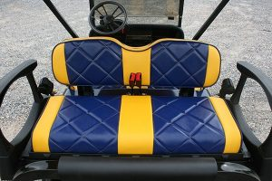 Custom Michigan-inspired Blue Gold Lowered EZ-GO RXV Golf Cart