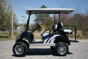 Navy Silver and Black Custom Golf Cart with Diamond Plate and Chrome