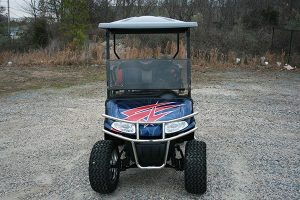 Chromed-Out Navy Red Silver Custom Lifted EZ-GO RXV Golf Cart