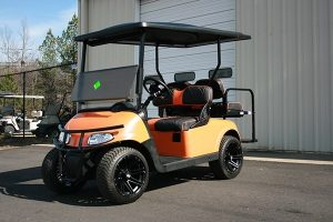Orange Pearl Custom EZ-GO RXV Golf Cart