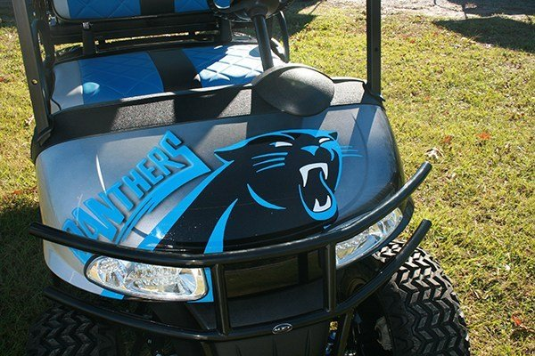 Custom Carolina Panthers Blue Black EZ-GO RXV Golf Cart