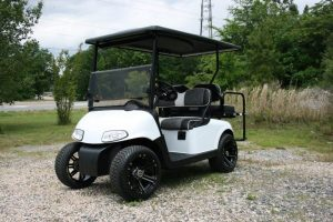 Pearl White Custom EZ-GO RXV Golf Cart