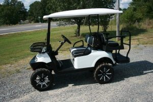 Pearl White with MJFX Armor Bumper Lifted Custom EZ-GO RXV Golf Cart