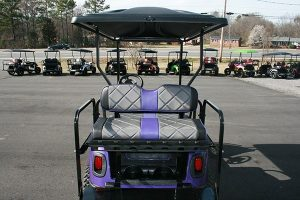 Plum Crazy Purple Lifted Custom EZ-GO RXV Golf Cart